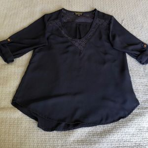 Navy blue blouse with lace trim